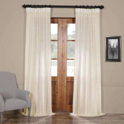Aruba White Striped Linen Sheer Curtain - 50 in. W x 108 in. L