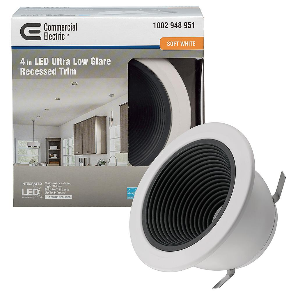Commercial Electric Ultra Low Glare 4 in. 3000K Soft White Integrated LED Recessed Trim Downlight Deep Black Baffle Insert 625 Lumens