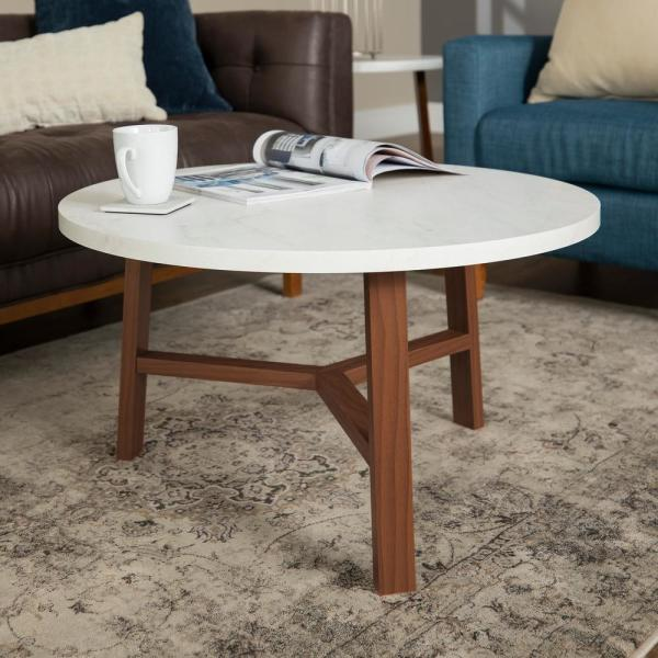Oak Trendy White Desk Concepts White Marble and Acorn Round Coffee Table