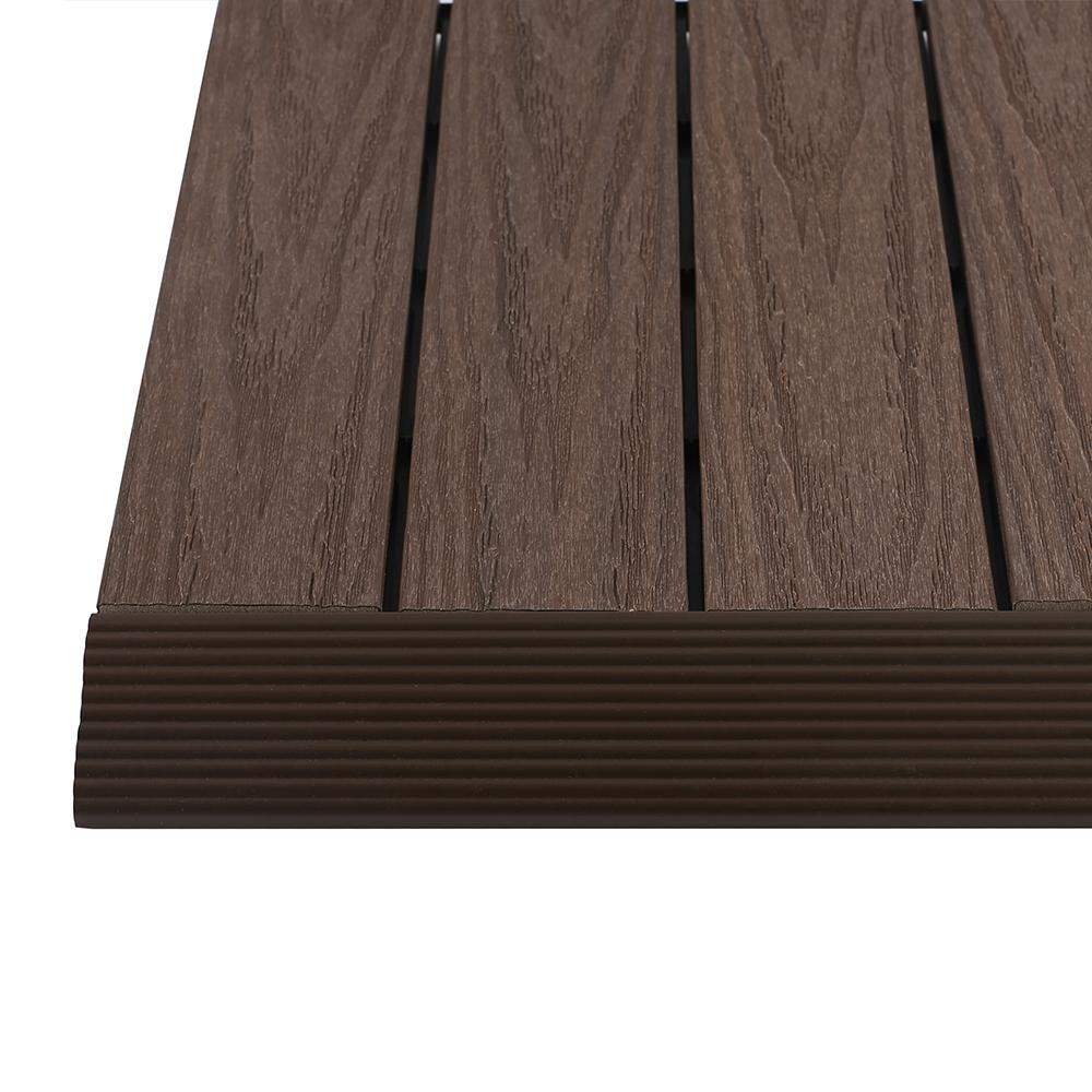 1/6 ft. x 1 ft. Quick Deck Composite Deck Tile Straight Trim in Spanish Walnut (4-Pieces/Box)