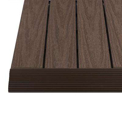 1/6 ft. x 1 ft. Quick Deck Composite Deck Tile Straight Trim in Spanish Walnut (4-Pieces/box)
