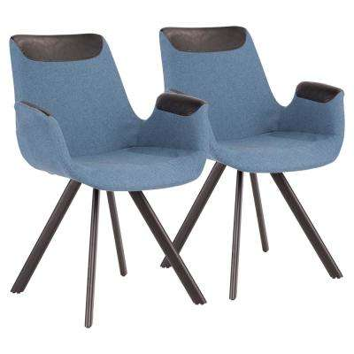 Industrial Vintage Blue Fabric, Black Faux Leather Accent and Black Metal Flair Chair (Set of 2)