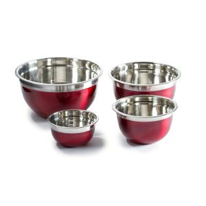 Click here to buy  4-Piece Red Stainless Steel Mixing Bowl Set.