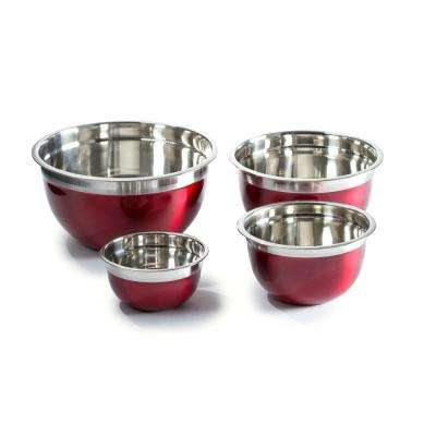 4-Piece Red Stainless Steel Mixing Bowl Set