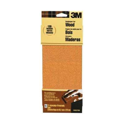 3-2/3 in. x 9 in. 100 Grit Medium Garnet Sand Paper (6 Sheets-Pack) (Case of 20)