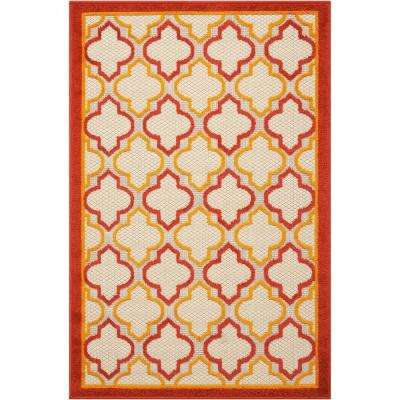 Aloha Red 3 ft. x 4 ft. Indoor/Outdoor Area Rug