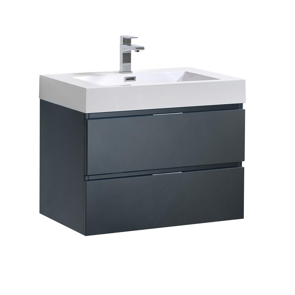 Fresca Valencia 30 in. W Wall Hung Bathroom Vanity in Dark Slate Gray with Acrylic Vanity Top in White