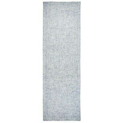 """London Collection Blue 100% Wool 2'6"""" x 8' Hand-Tufted Solid Area Rug"""