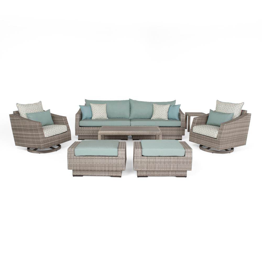 Cannes 8-Piece All-Weather Wicker Patio Deluxe Sofa and Motion Club Chair