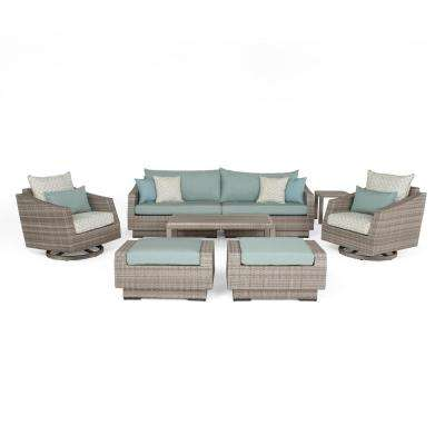 Cannes 8-Piece All-Weather Wicker Patio Deluxe Sofa and Motion Club Chair Conversation Set with Spa Blue Cushions