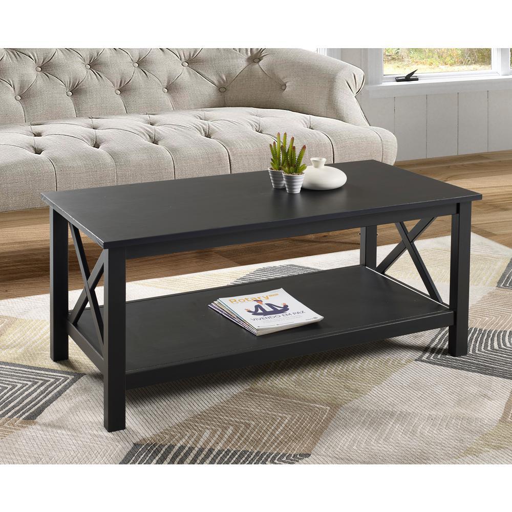 Linon Home Decor Ramsey Black Coffee Table Thd02082 The