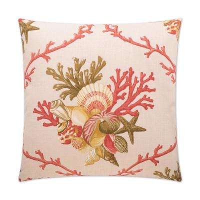 Sheldon Coral Feather Down 24 in. x 24 in. Standard Decorative Throw Pillow