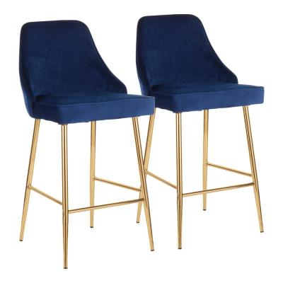 Marcel 25 in. Gold Metal Counter Stool with Navy Blue Velvet Upholstery (Set of 2)