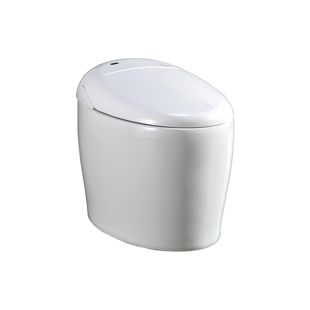 OVE Decors Smart 1 Piece 1.28 GPF Single Flush Elongated Toilet And Bidet  With Seat In White 667580   The Home Depot
