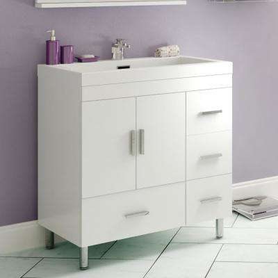 Ripley 29.37 in. W x 19 in. D x 32.87 in. H Vanity in White with Acrylic Vanity Top in White with White Basin