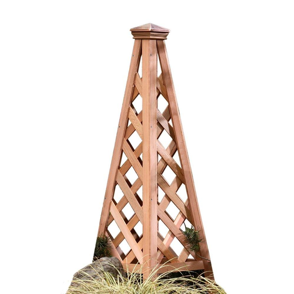 Arboria 48.75 in. Copper Top Pyramid Cedar Trellis