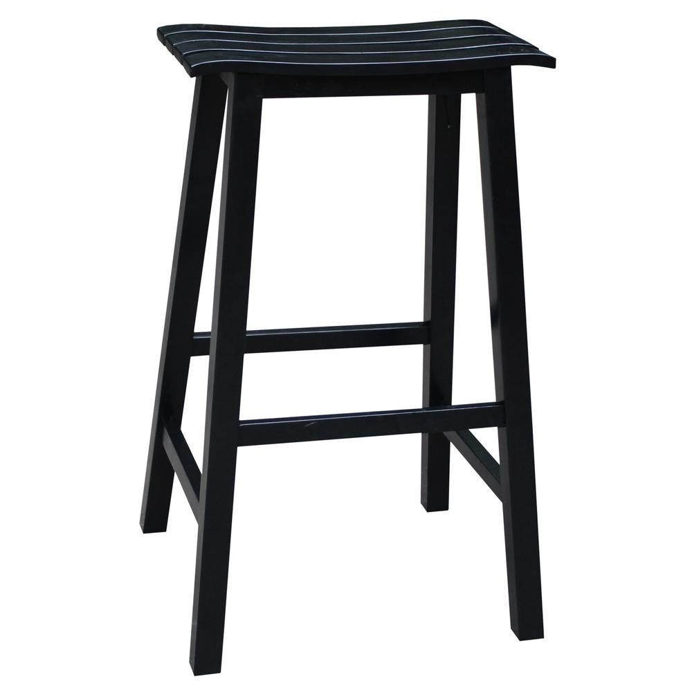International Concepts Saddle 30 In Black Bar Stool S46