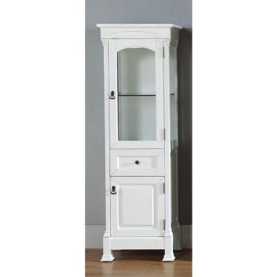 Brookfield 20 in. W x 16.26 in. D x 65 in. H Wall Mounted Bath Linen Cabinet with Glass Door in Bright White