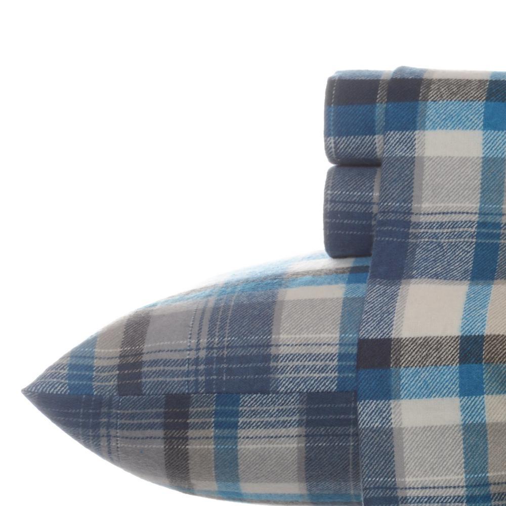 Spencer Plaid Blue Cotton Flannel Queen Sheet Set