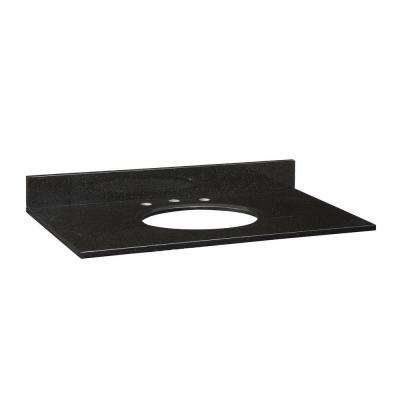 37 in. Granite Vanity Top in Black without Basin