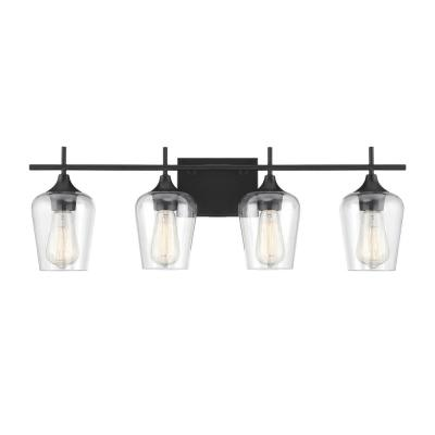 28.75 in. 4-Light Black Vanity Light with Clear Glass
