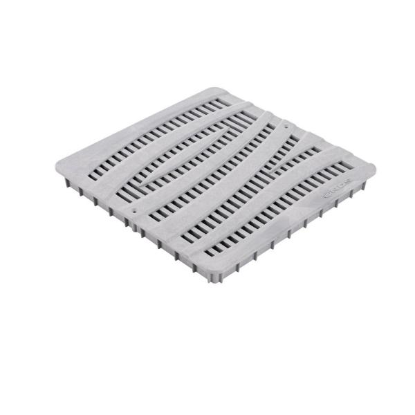 12 in. Plastic Square Drainage Catch Basin Grate with Wave Design in Gray