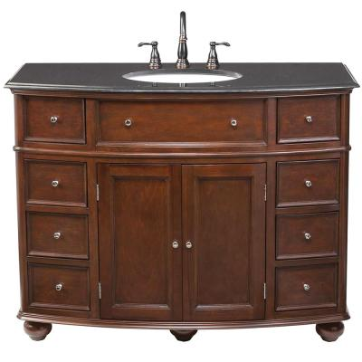 Hampton Harbor 45 in. W x 22 in. D Bath Vanity in Sequoia with Granite Vanity Top in Black