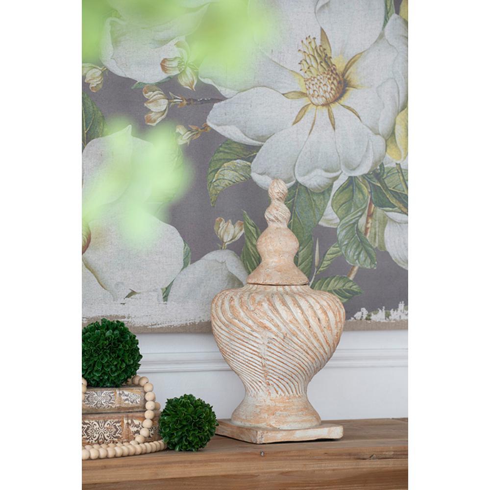 Chester Finial Brown Large Lidded Swirl Vase