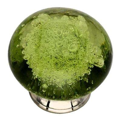 1-3/7 in. Green Bubbled Glass Cabinet Knob