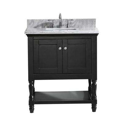Julianna 32 in. W Bath Vanity in Espresso with Marble Vanity Top in White with Square Basin