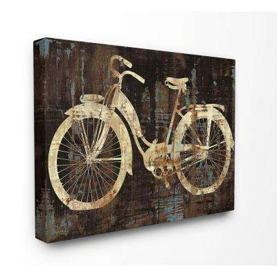 "24 in. x 30 in. ""Black Tan and Blue Distressed Bicycle Silhouette"" by Artist Amanda Wade Canvas Wall Art"