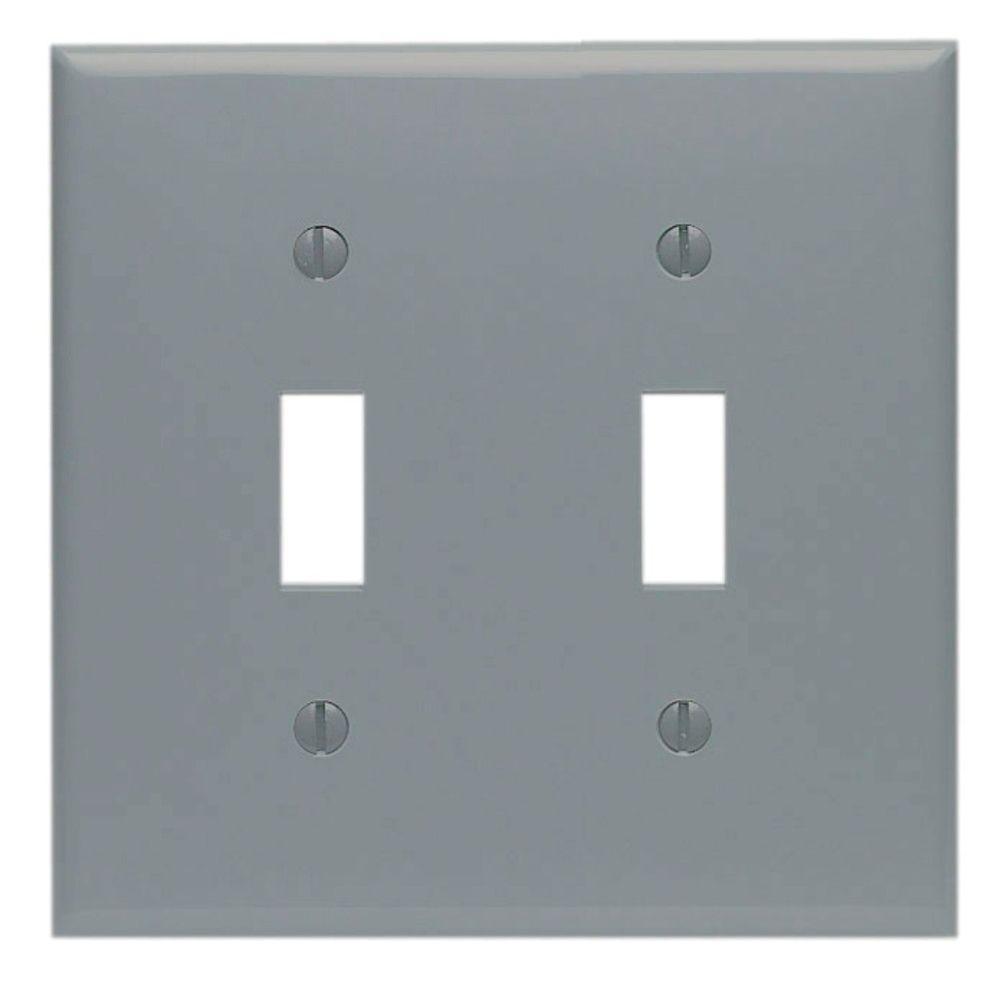 2-Gang Midway Toggle Nylon Wall Plate, Gray