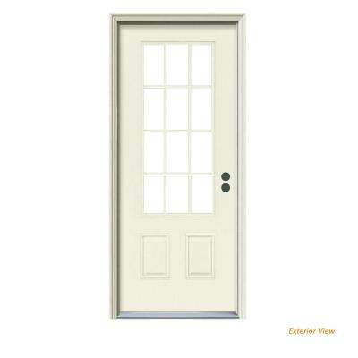32 in. x 80 in. 12 Lite Primed Steel Prehung Left-Hand Inswing Front Door w/Brickmould