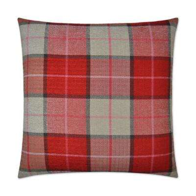 Penn Plaid Red Feather Down 24 in. x 24 in. Decorative Throw Pillow