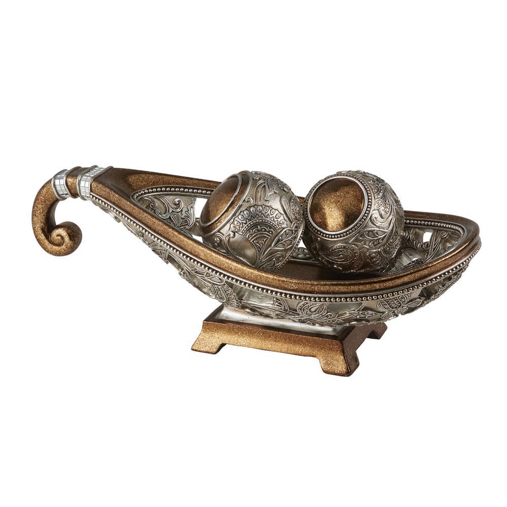 Bronze Langi Polyresin Decorative Bowl With Spheres