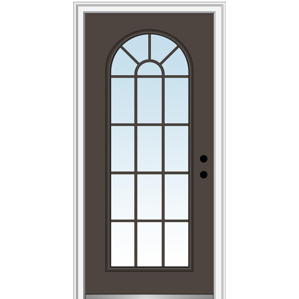 MMI Door 36 in. x 80 in. Left-Hand Inswing Full Lite Round Top Clear Classic Painted Steel Prehung Front Door