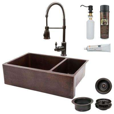 All-in-One Farmhouse Apron-Front Copper 33 in. 0-Hole 75/25 Double Basin Kitchen Sink in Oil Rubbed Bronze