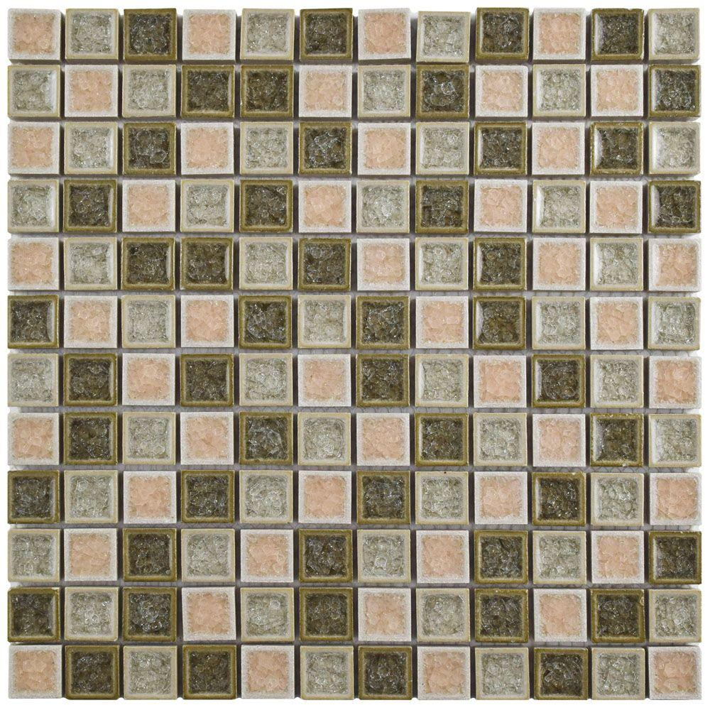 Merola Tile Crackle Square Beige Mix 11-5/8 in. x 11-5/8 in. x 8 mm Ceramic and Glass Mosaic Tile