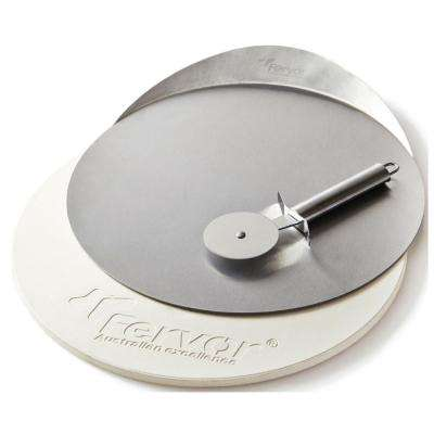 Pizza Stone and Stainless Steel Cutter Set