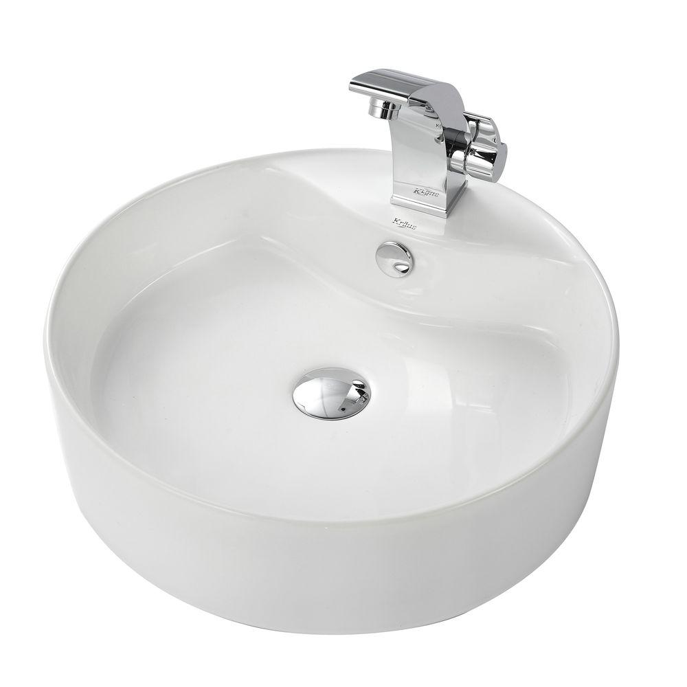 KRAUS Round Ceramic Vessel Sink in White with Illusio Vessel Sink Faucet in Chrome