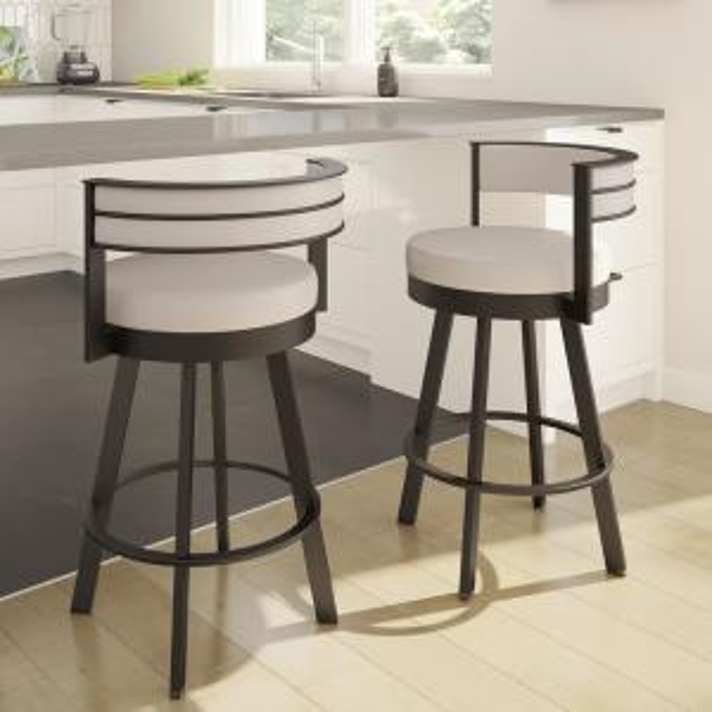 Stupendous Amisco Browser 30 In Cream Faux Leather Dark Brown Metal Uwap Interior Chair Design Uwaporg
