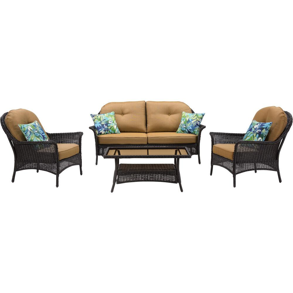 Hanover Sun Porch 4 Piece Wicker Patio Conversation Set With Country Cork Cushions