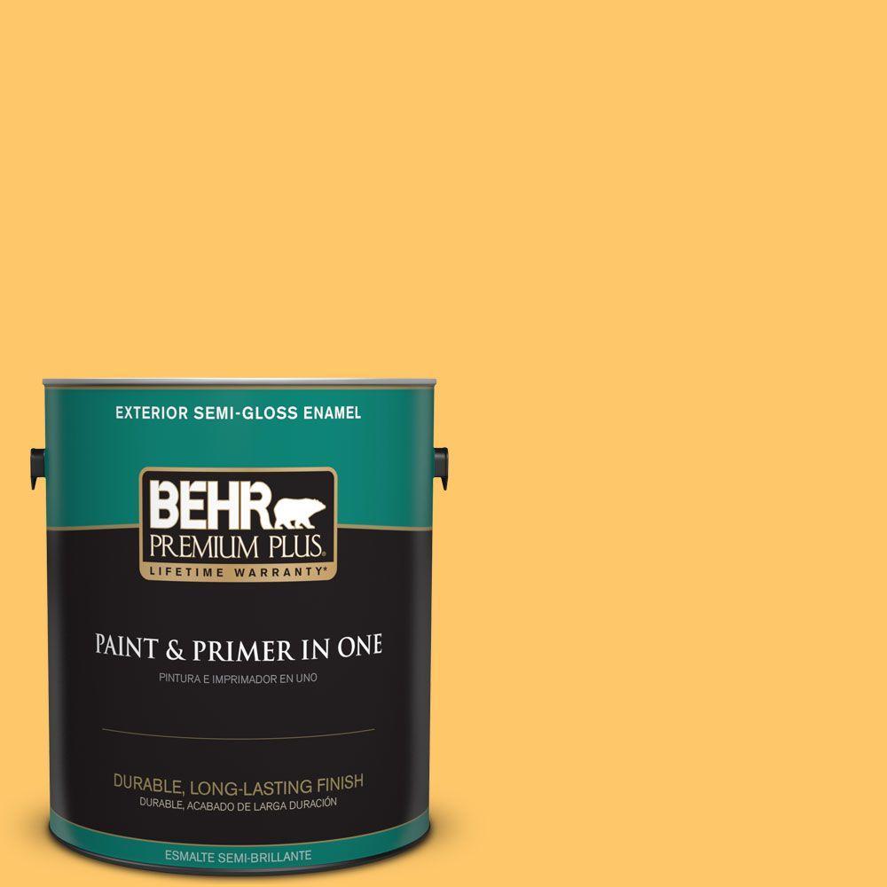 1 gal. #HDC-SP16-05 Daffodil Semi-Gloss Enamel Exterior Paint