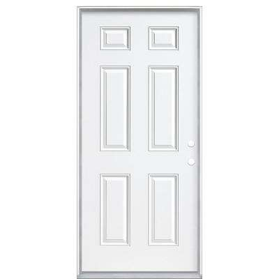 36 in. x 80 in. 6-Panel Left Hand Inswing Primed White Steel Prehung Front Exterior Door with Vinyl Frame