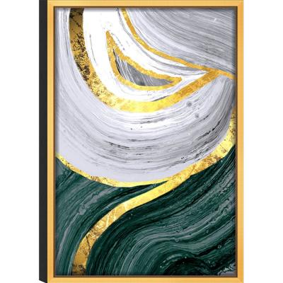White Flow' Acrylic Glass Gold Frame Abstract Wall Art 24 in. L x 36 in. W