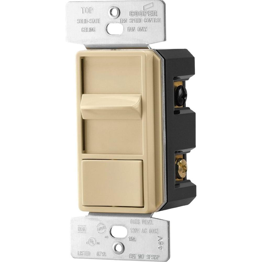 1.5 Amp Quiet 3-Speed Fan Control Rocker Switch with Preset, Ivory