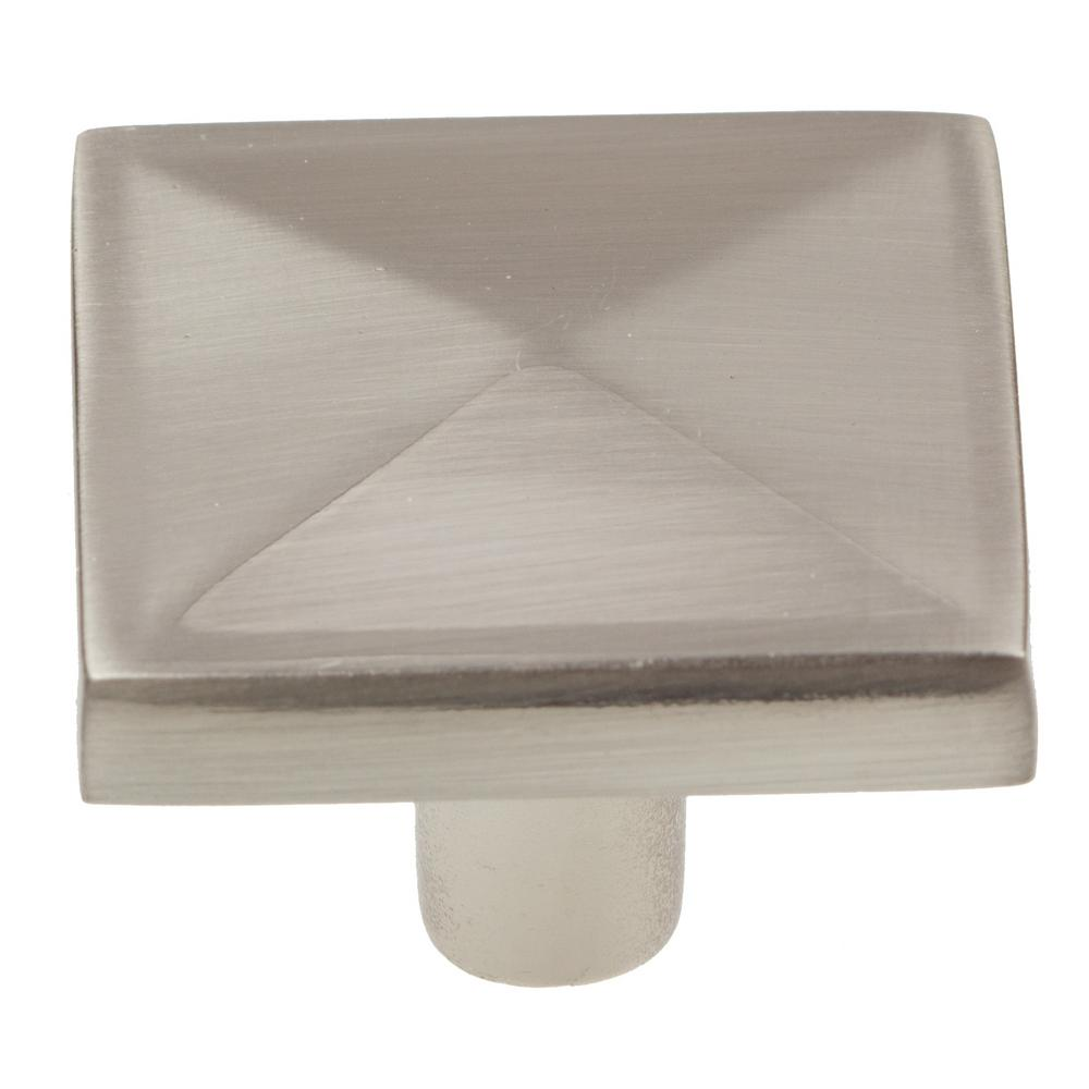 GlideRite 1-1/4 in. Satin Nickel Square Pyramid Cabinet K...