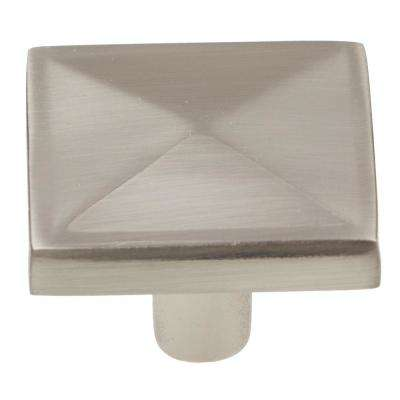 1-1/4 in. Satin Nickel Square Pyramid Cabinet Knob (10-Pack)