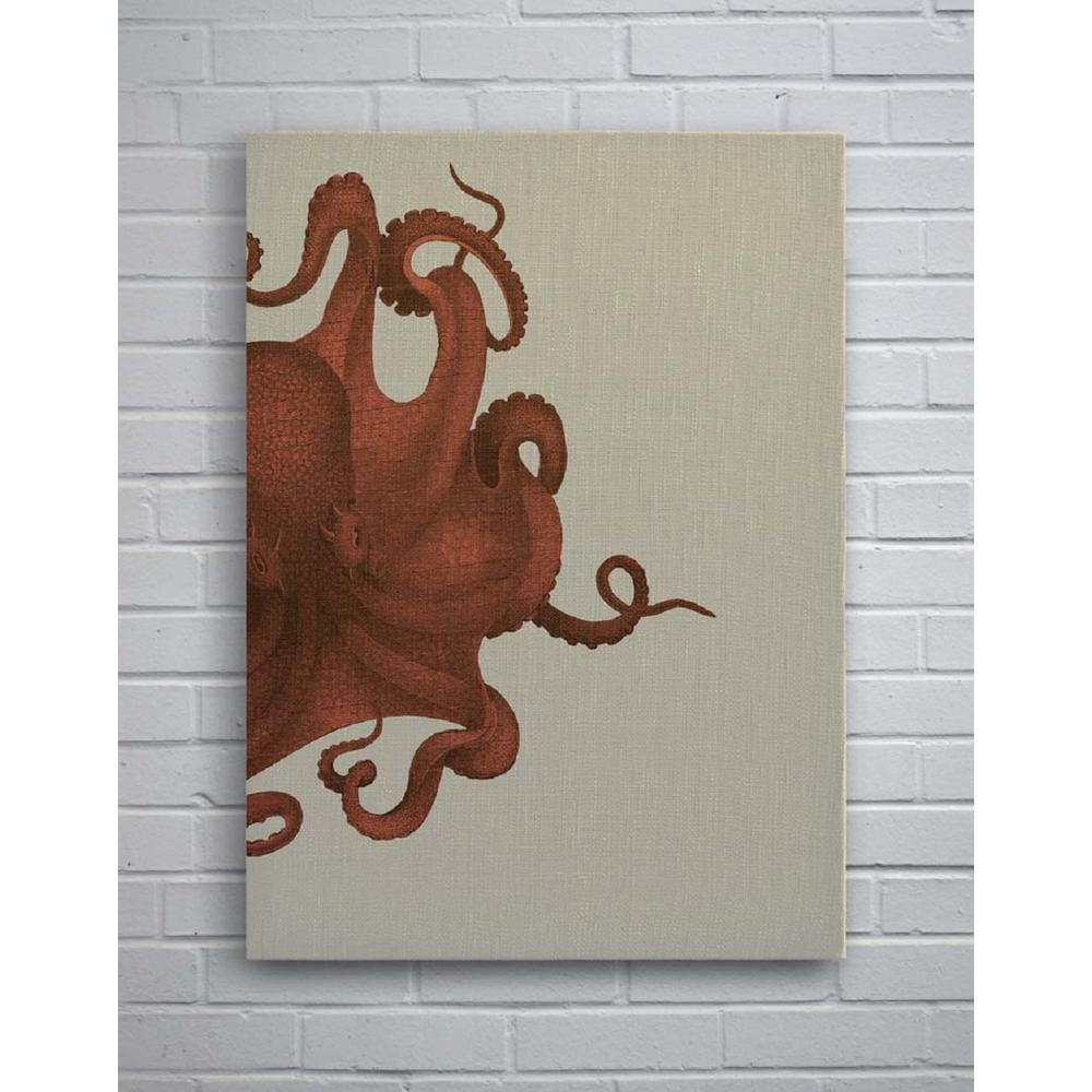 Octopus Study Coral Small Splash Works Frameless Canvas Wall  sc 1 st  Home Depot & 29 in. x 40 in. Octopus Study Coral Small Splash Works Frameless ...