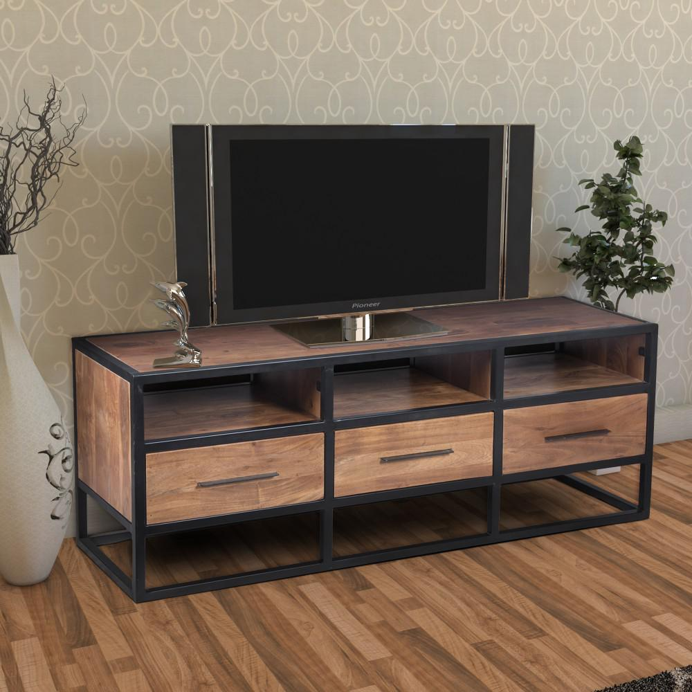 Brown And Black Ious Acacia Wood Tv Console With Metal Frame